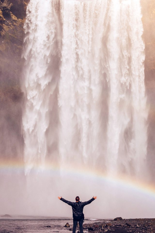 Waterfall Rainbow Nature Mountain Android wallpaper
