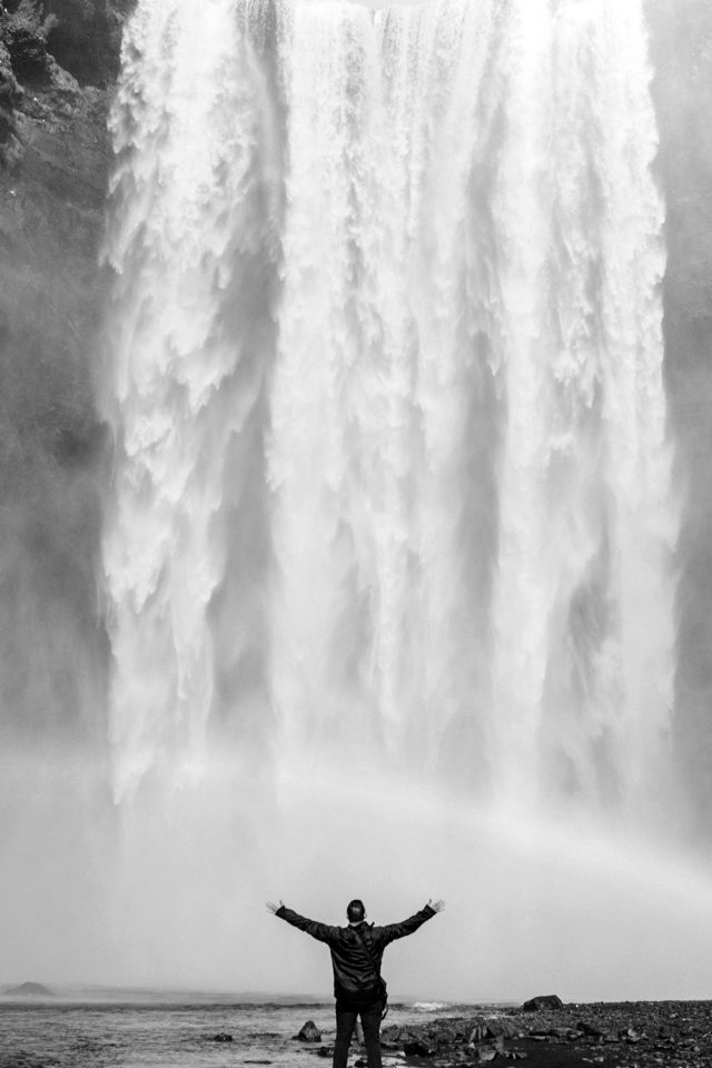 Waterfall Rainbow Nature Mountain Bw Dark Android wallpaper