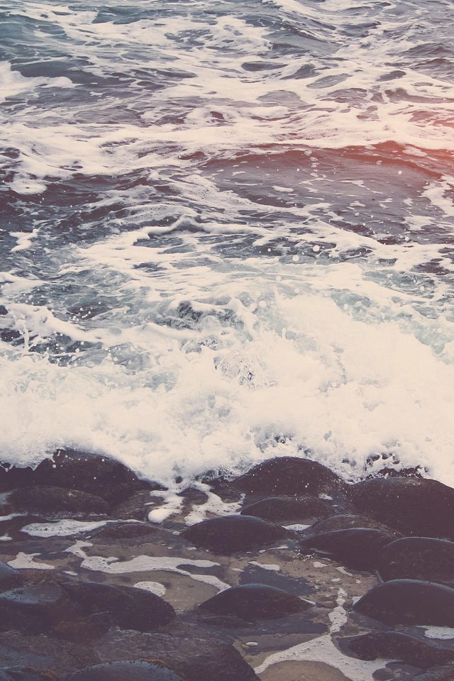 Wave Ocean Beach Lake Nature Stone Flare Android wallpaper