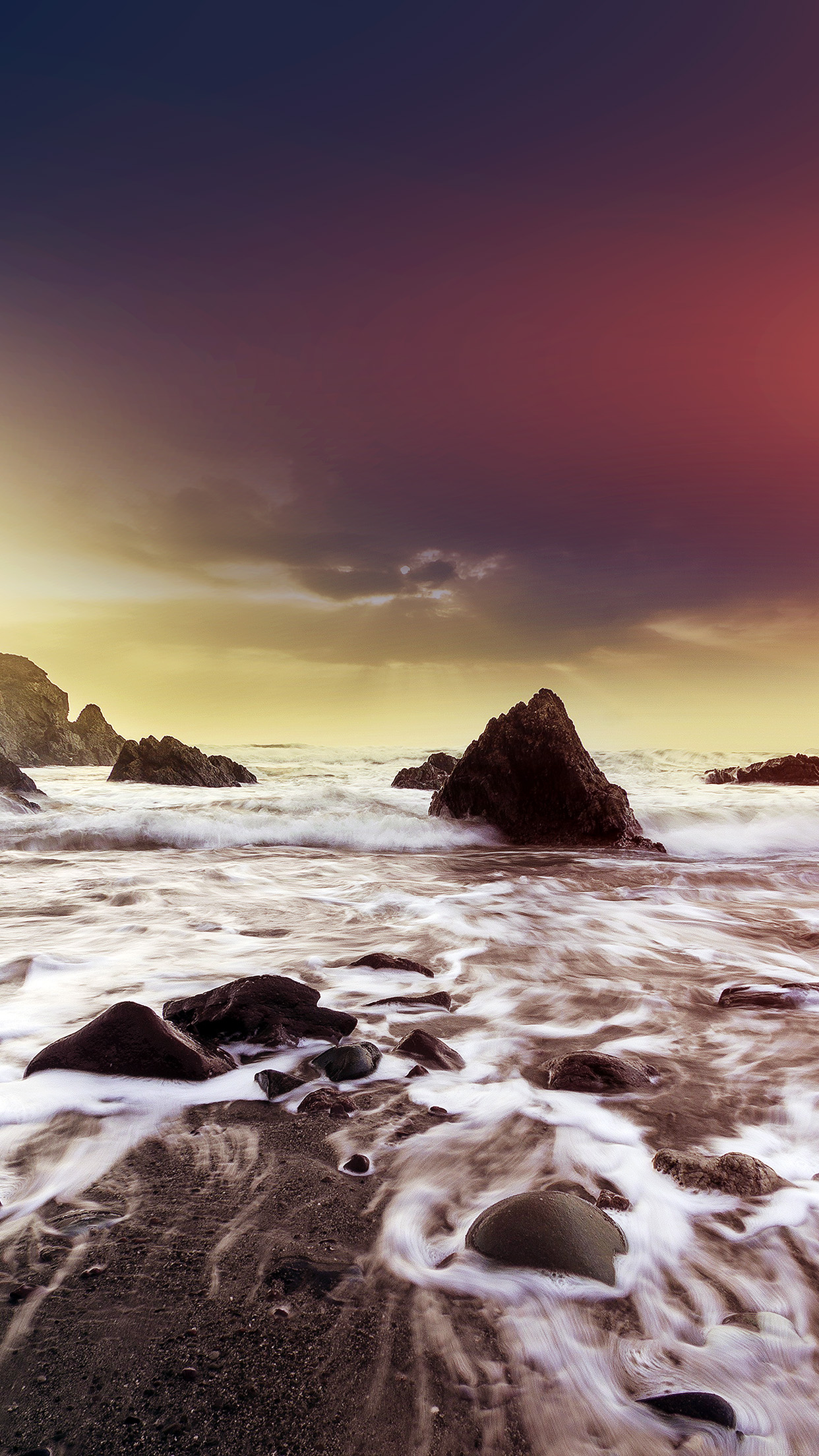 Wave Ocean Beach Red Owen Walters Flare Nature Android wallpaper