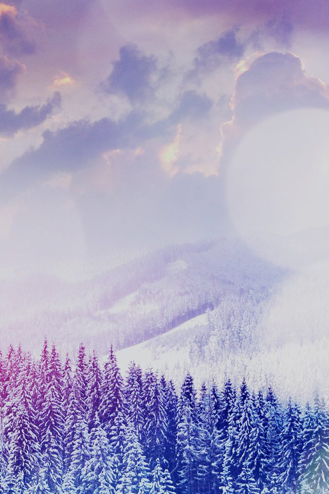 Winter Mountain Snow White Blue Flare Nature Android wallpaper