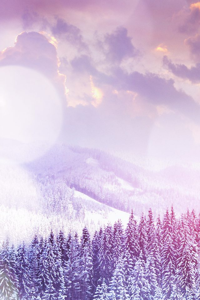 Winter Mountain Snow White Flare Nature Android wallpaper