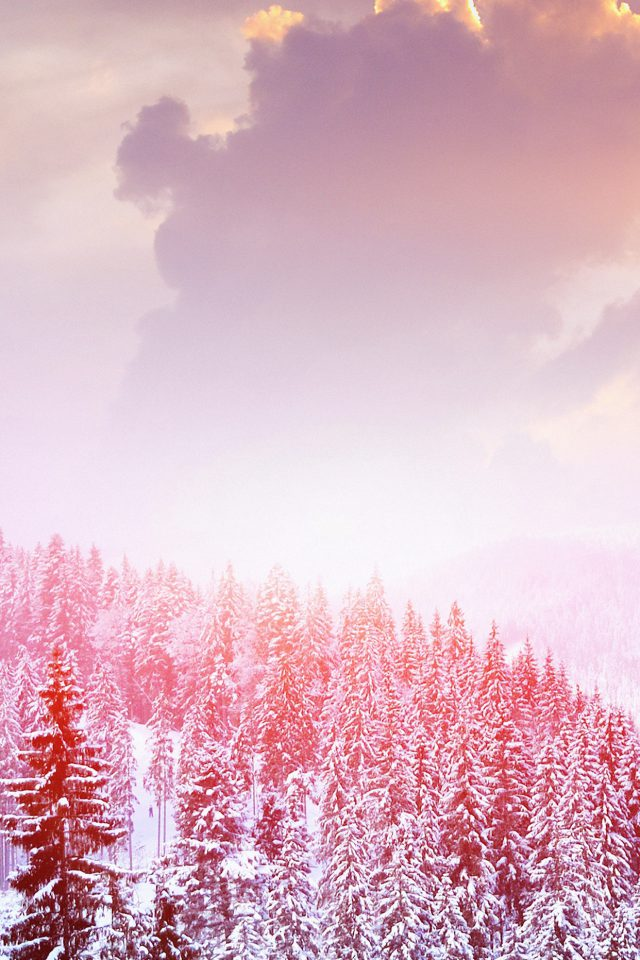 Winter Mountain Snow White Red Nature Android wallpaper