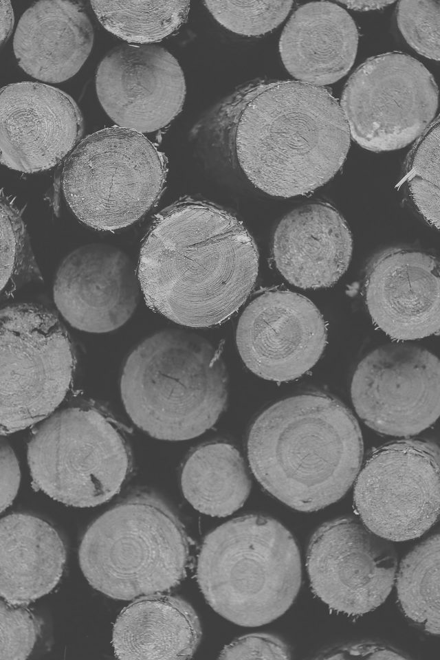 Wood Circle Piles Nature White Dark Bw Pattern Android wallpaper