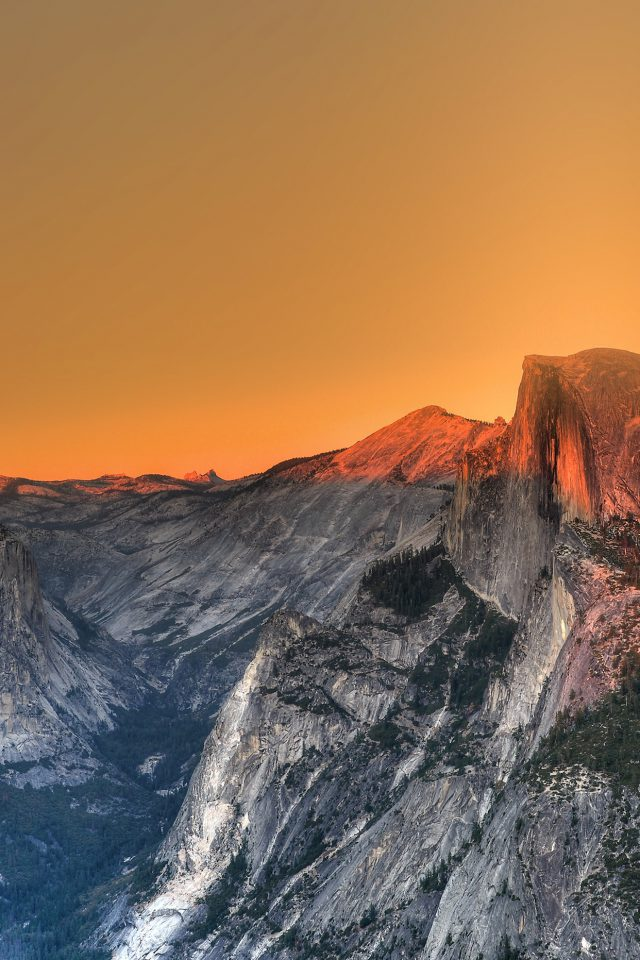 Yosemite Mountain Art Orange Sky Nature Android wallpaper