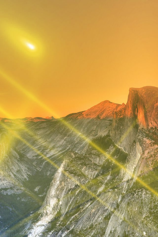 Yosemite Mountain Art Yellow Flare Sky Nature Android wallpaper