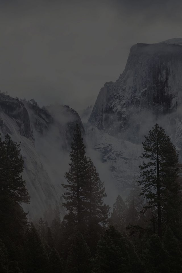Yosemite Snow Black Mountain Nature Android wallpaper