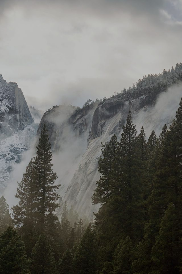 Yosemite Snow Dark Mountain Nature Android wallpaper