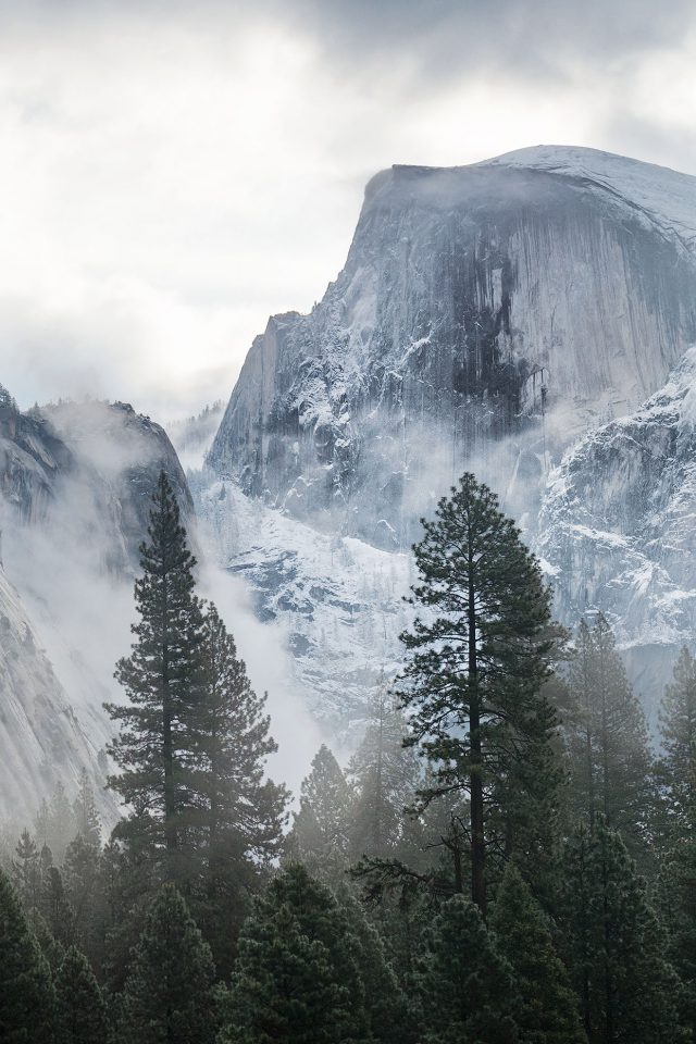 Yosemite Snow Mountain Nature Android wallpaper