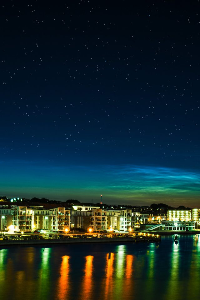 Aalborg Night Scene From Sea Dark Cityscape Android wallpaper