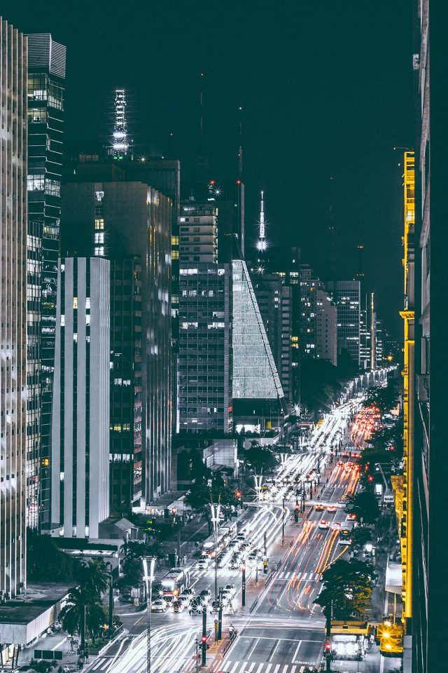 City Night View Urban Street Android wallpaper