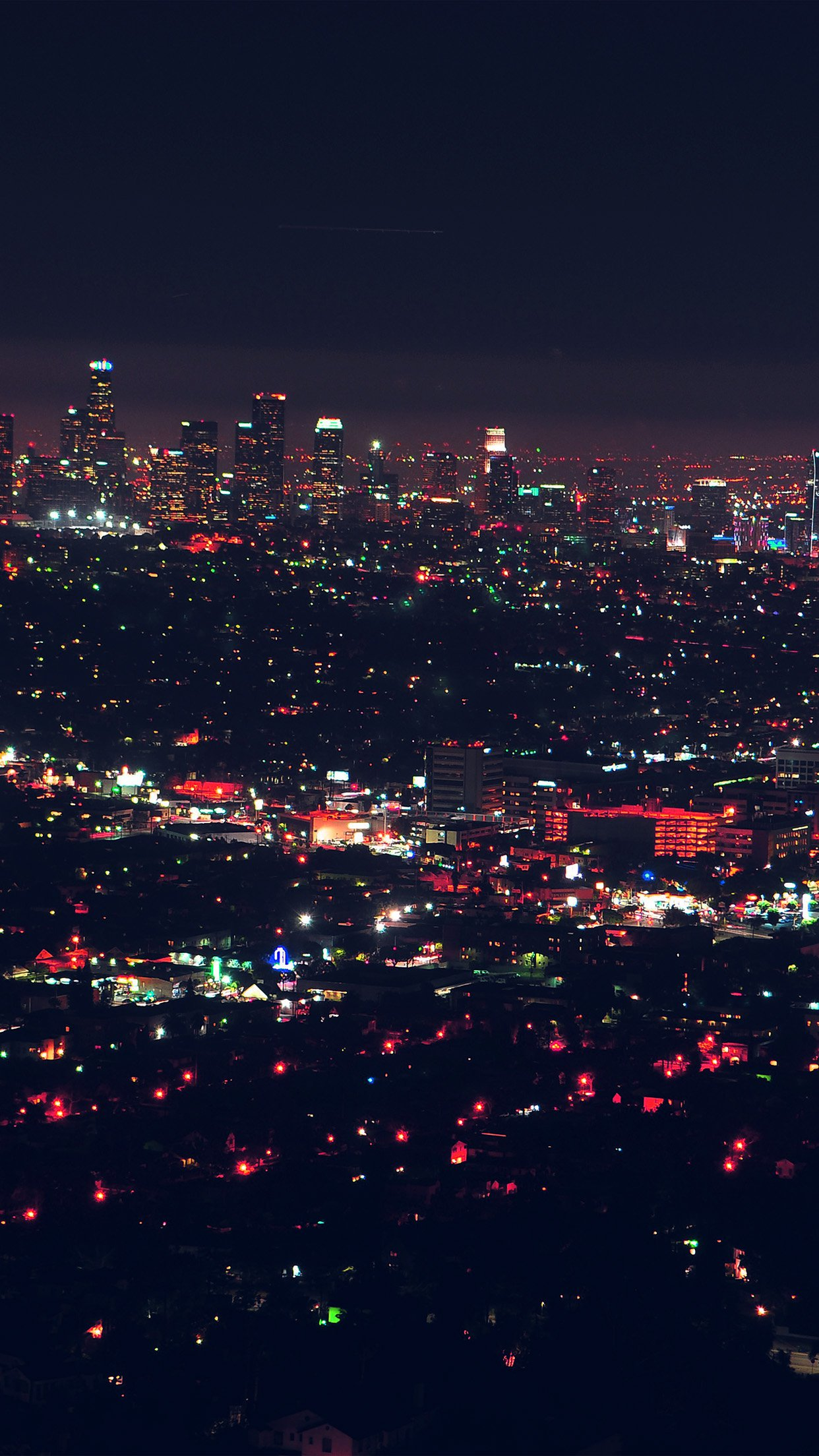 City View Night Light Red Android Wallpaper