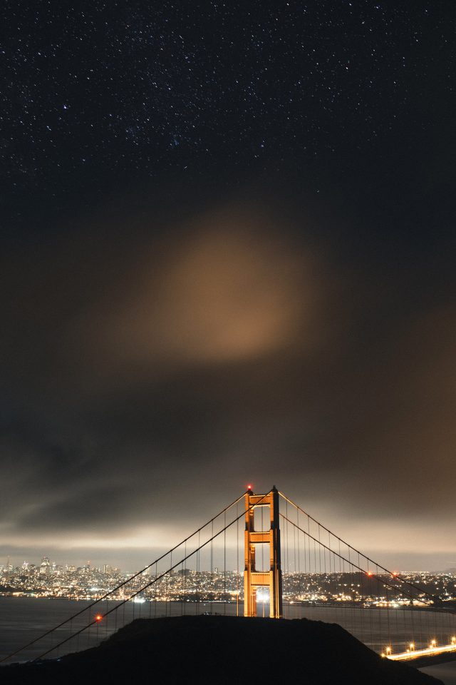 Golden Bridge Sky Star Milkyroad River City Night Dark Android wallpaper