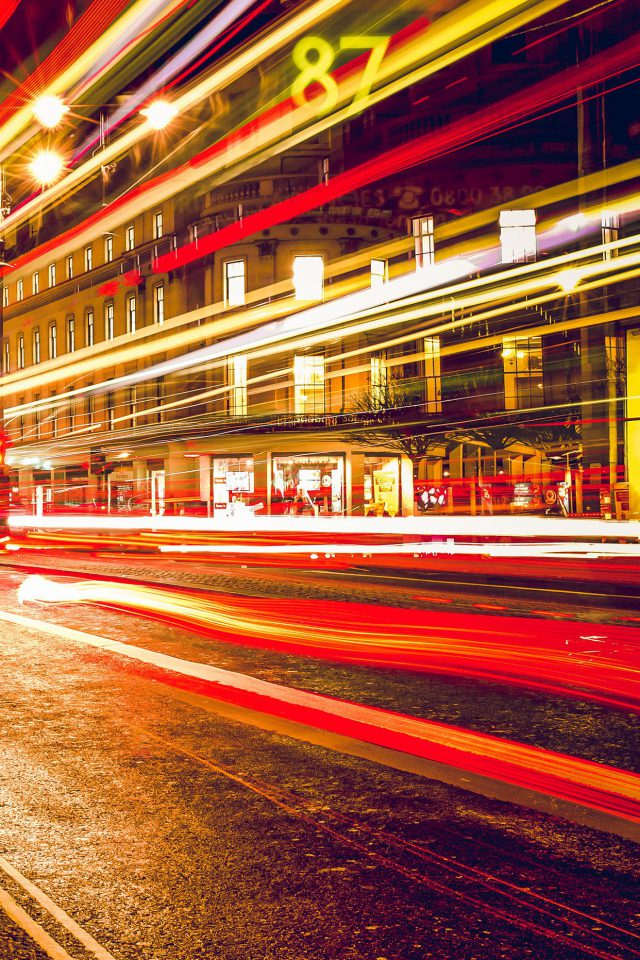 London City Car Lights Night Bokeh Red Android wallpaper