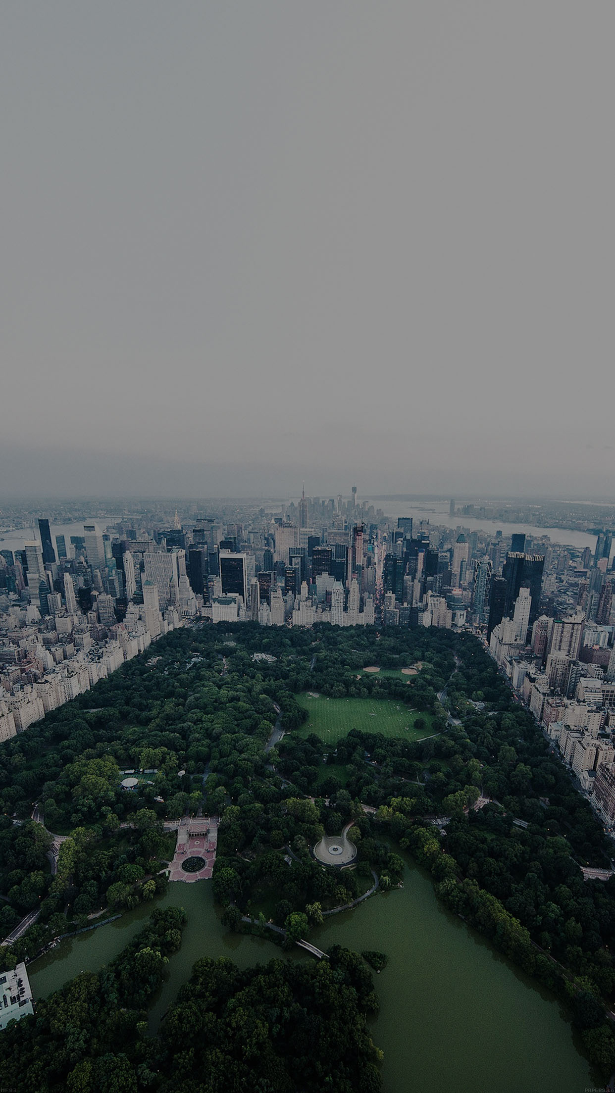 New York Dark Central Park Skyview Nature City Android Wallpaper