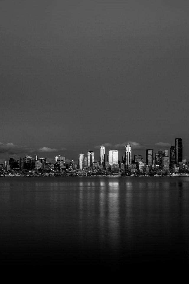 Night City View Dark Bw Nautre Art Android wallpaper