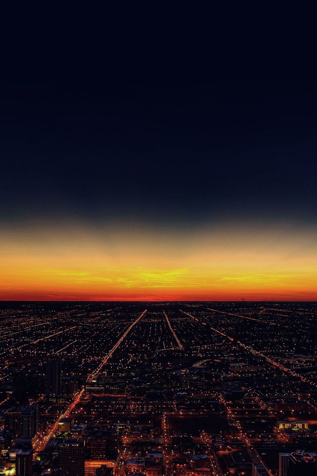 Night Sky Flying Sunset City Android wallpaper