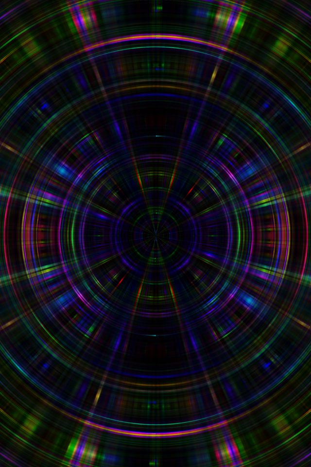 Psychic Color Circle Abstract Dark Rainbow Pattern Android wallpaper