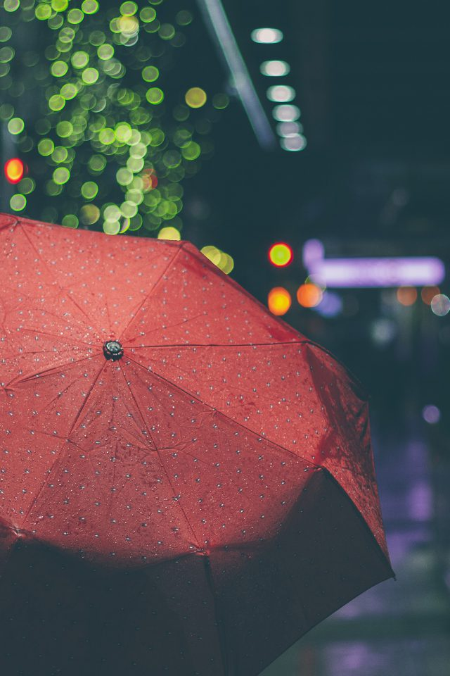 Rainyday Umbrella Bokeh City Night Dark Android wallpaper