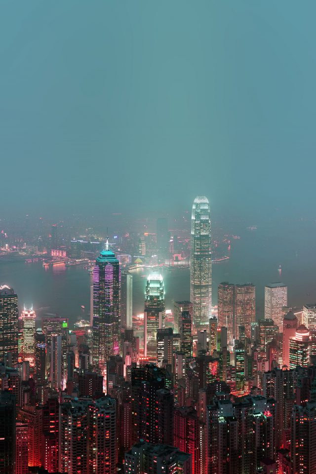 Skyline Hongkong Fire City Night Live Android wallpaper