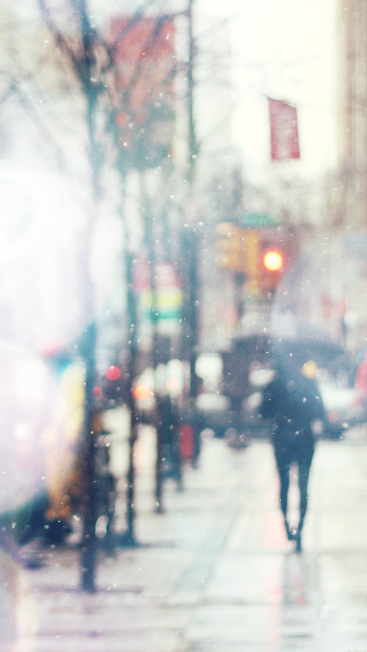Snow Street Bokeh Flare Winter Walk City Day Nature Android Wallpaper