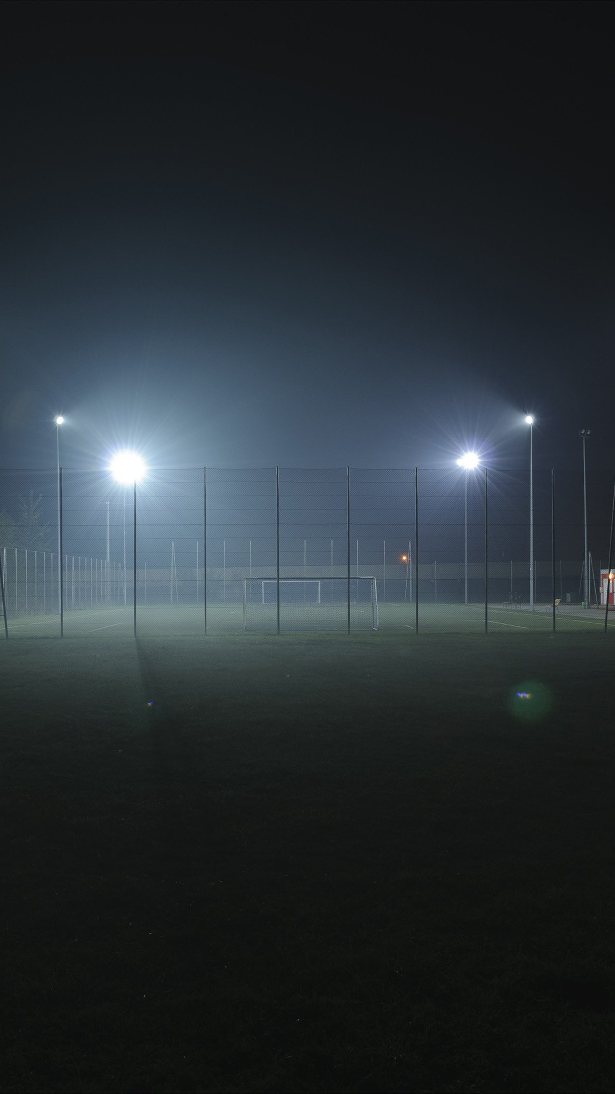Soccer Field City Night Light Dark Android wallpaper