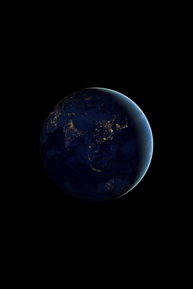 Asia At Night Earth Space Dark Android wallpaper
