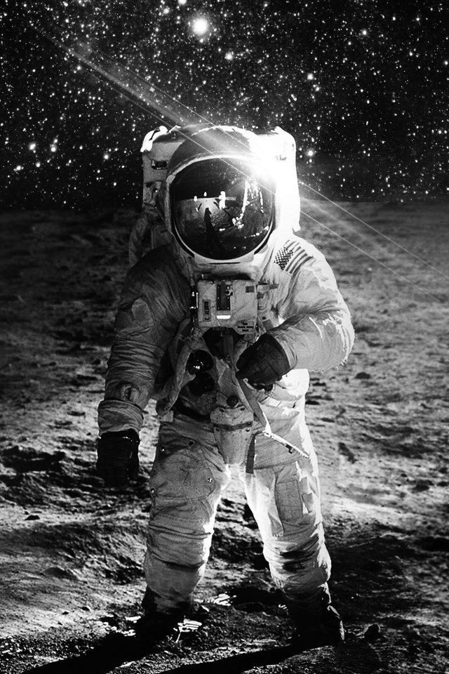 Astronaut Space Art Moon Dark Bw Android wallpaper