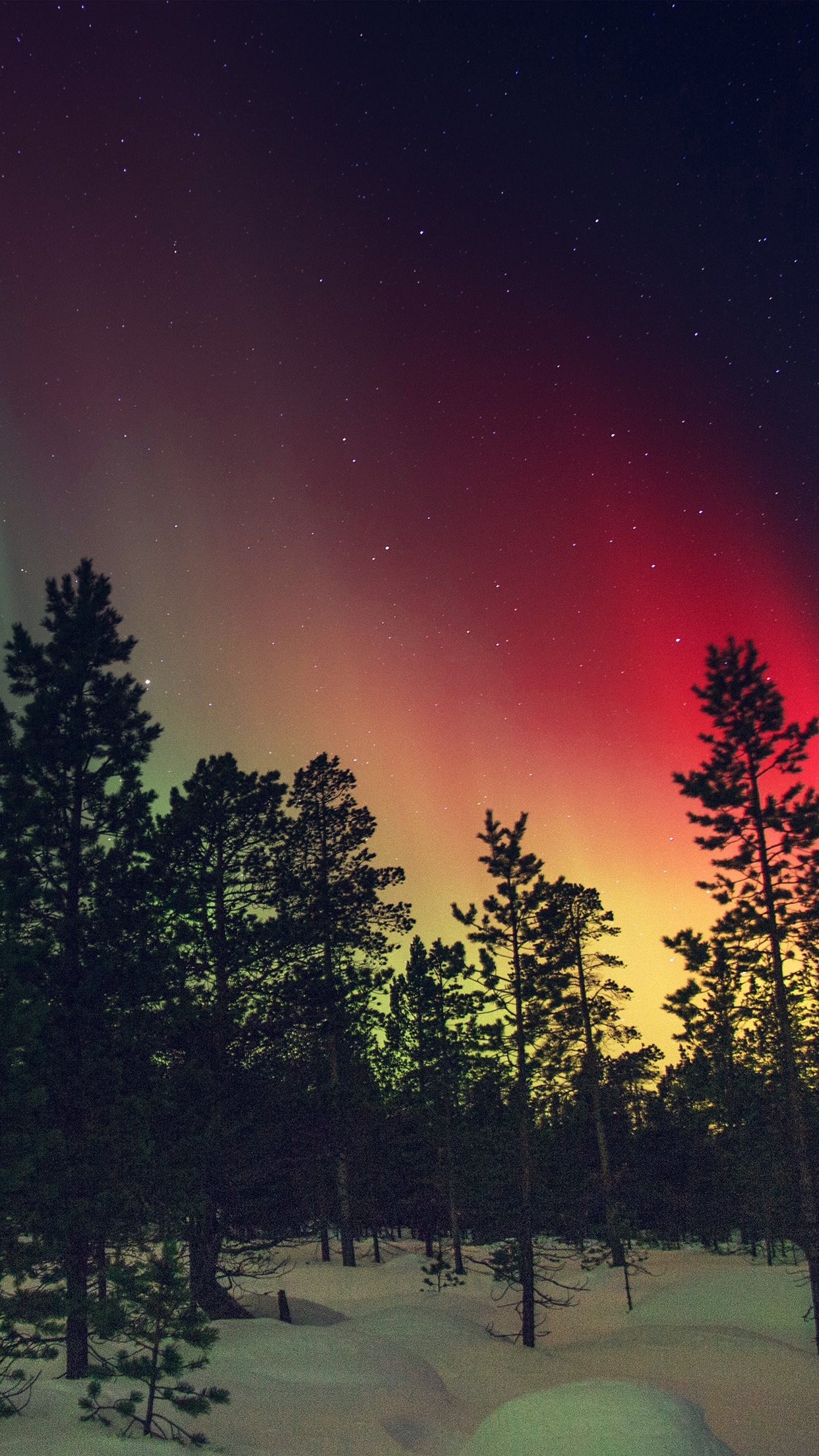Aurora Night Red Sky Space Dark Romantic Android wallpaper