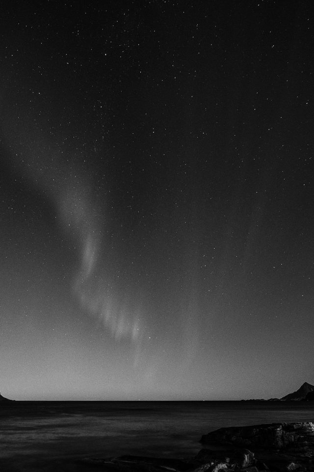 Aurora Night Sky Star Beautiful Space Sea Dark Bw Android wallpaper