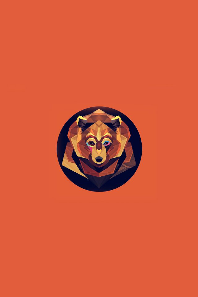 Bear Polygon Art Animal Orange Android wallpaper