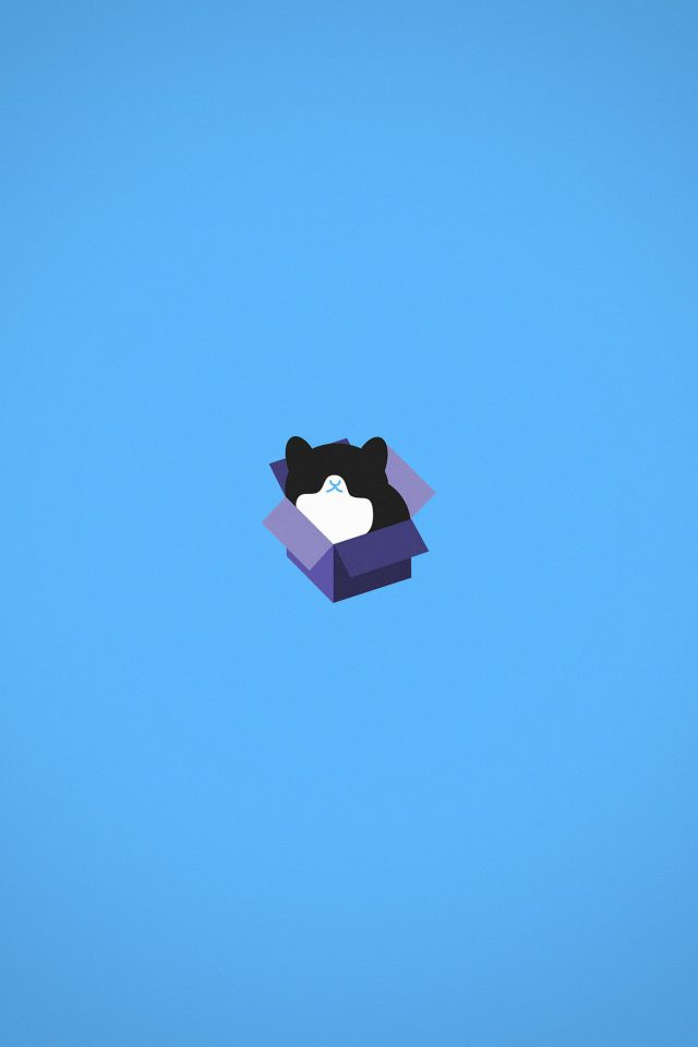 Cat Box Blue Illust Animal Art Minimal Android wallpaper