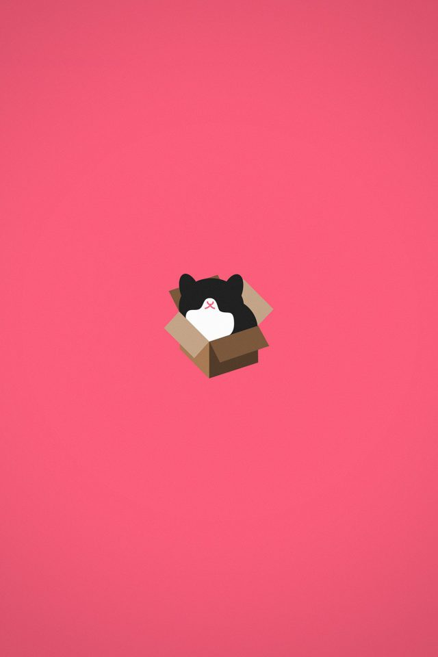 Cat Box Red Illust Animal Art Minimal Android wallpaper