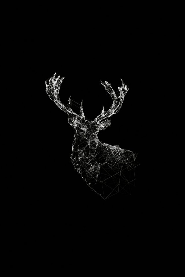 Deer Animal Illust Dark Android wallpaper