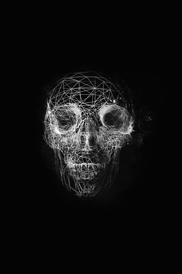 Digital Skull Dark Abstract Art Illustration Bw Android wallpaper