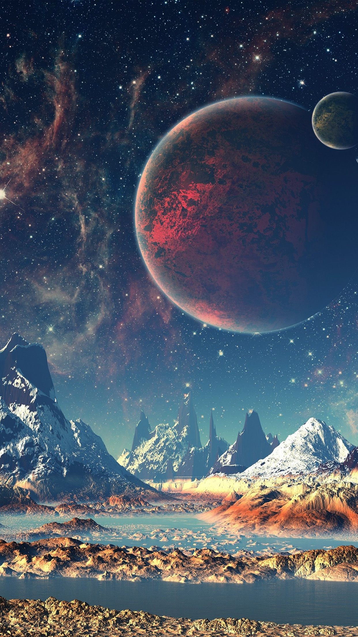dream space world mountain sky star illustration android wallpaper