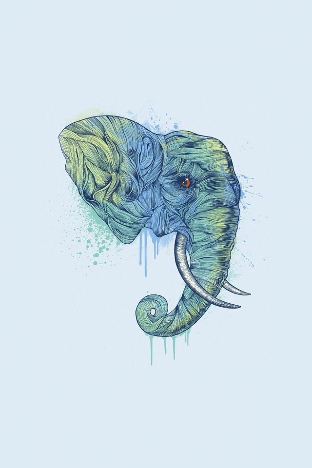 Elephant Art Illust Drawing Animal Android wallpaper