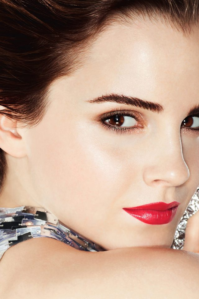 Emma Watson Face Red Sexy Cute Android wallpaper