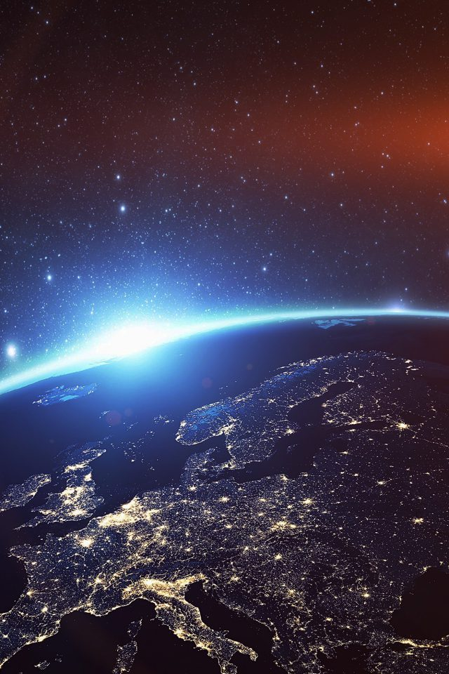 Europe Earth Blue Space Night Art Illustration Flare Android wallpaper