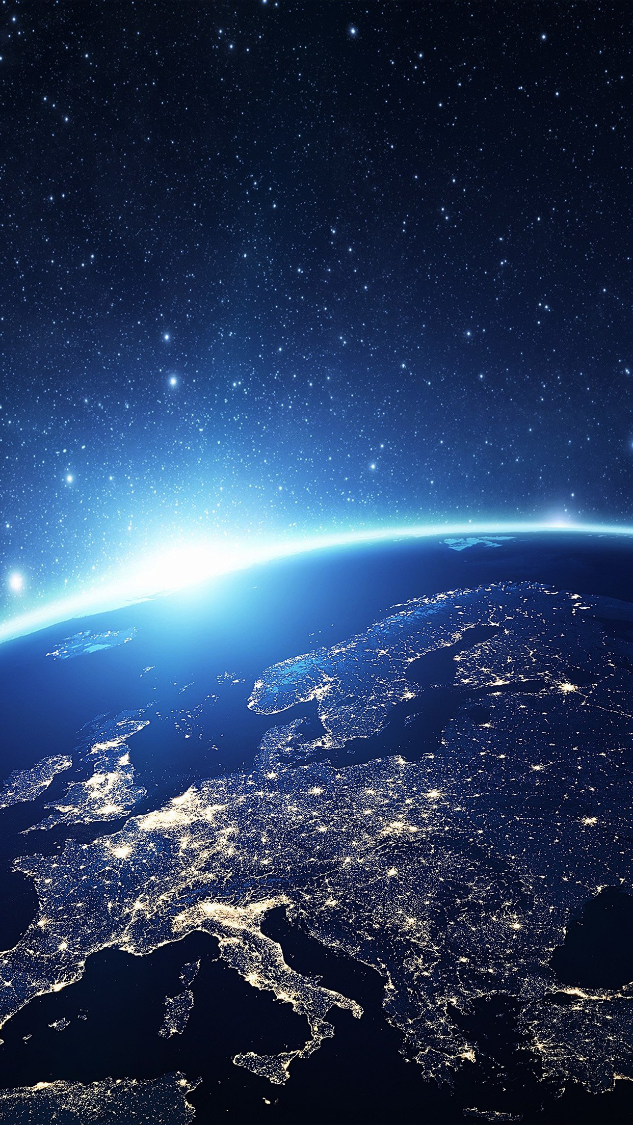 Europe Earth Blue Space Night Art Illustration Android wallpaper