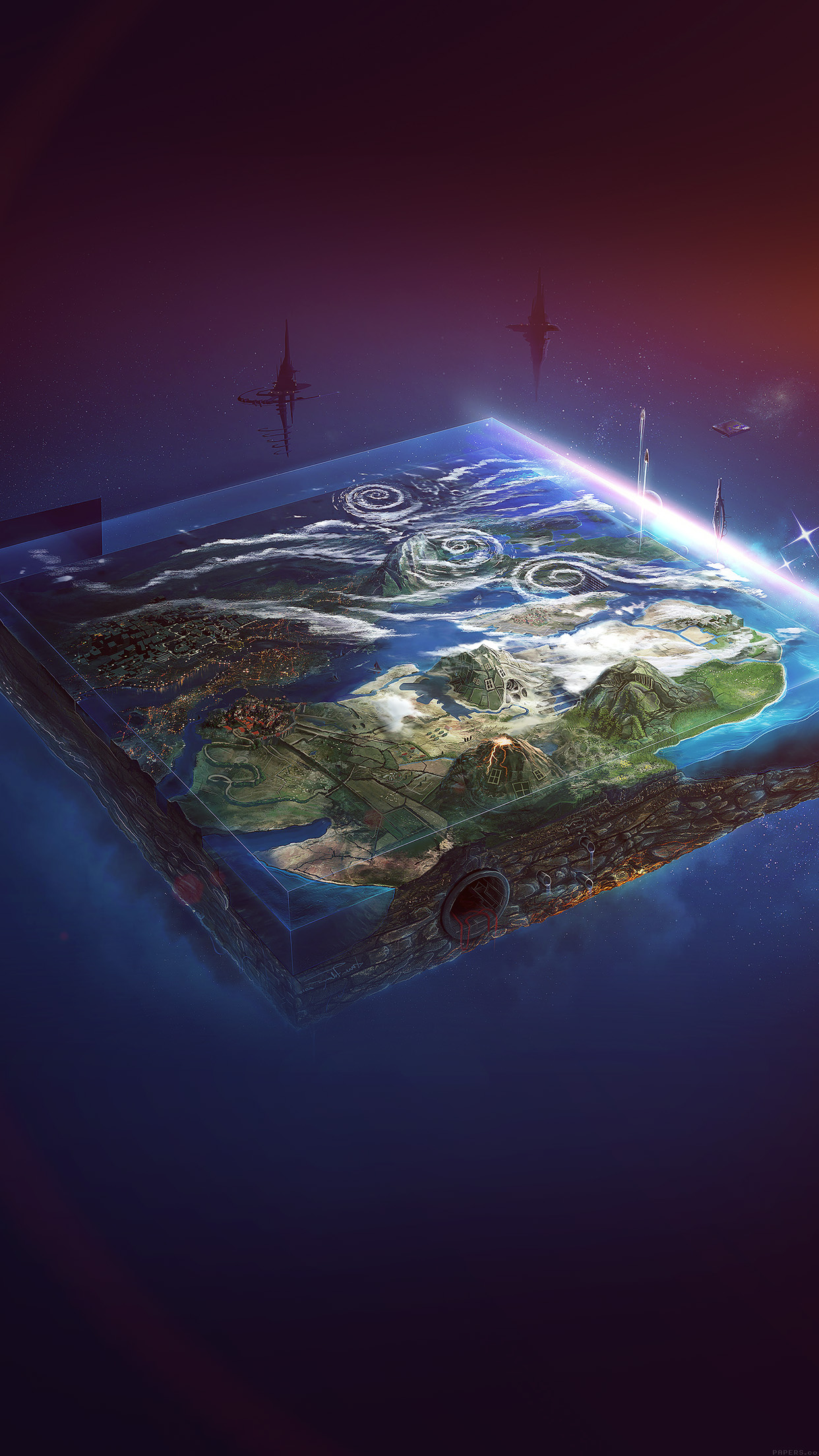 Flat Earth Art Flare Illust Space Android wallpaper