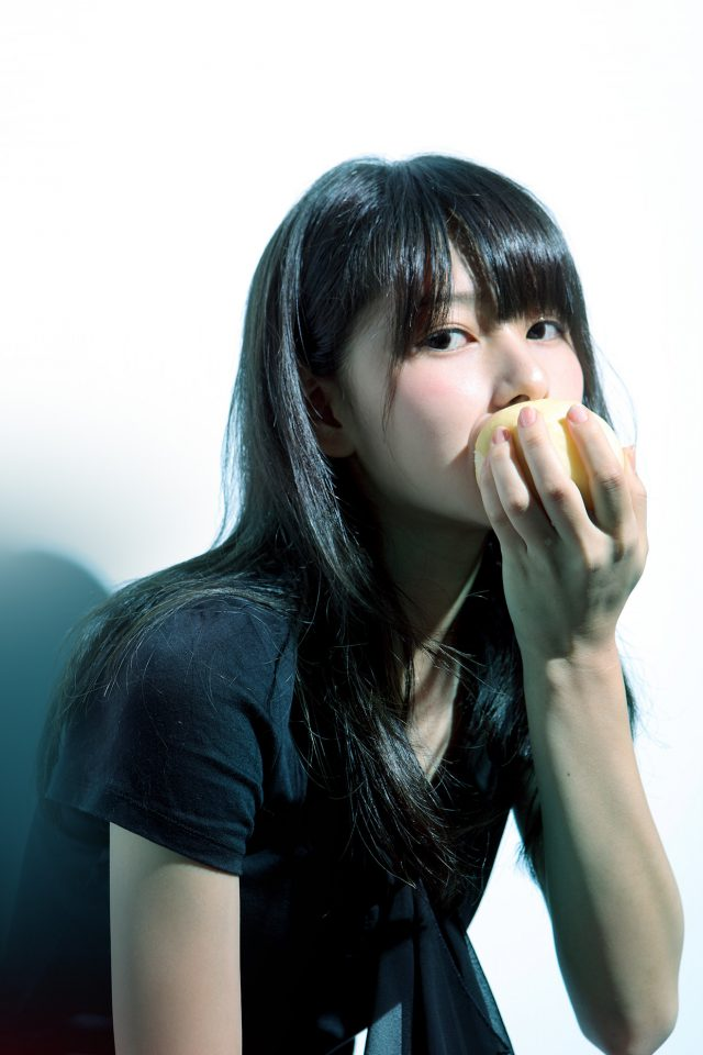 Girl Asian Eating Apple Cute Android wallpaper