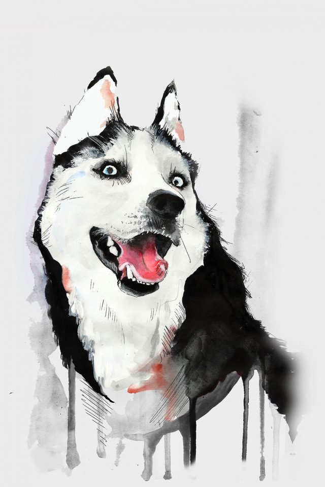 Happy Dog Husky Animal Illust Watercolor Android wallpaper