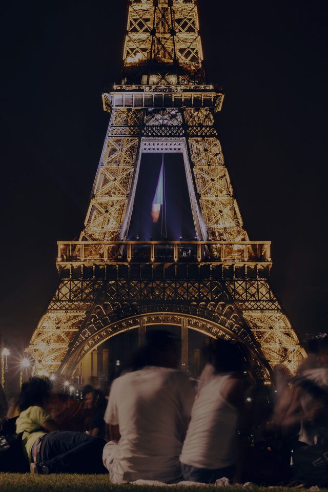 Happy Paris Eiffel Tower France Tour Night City Darken Android wallpaper