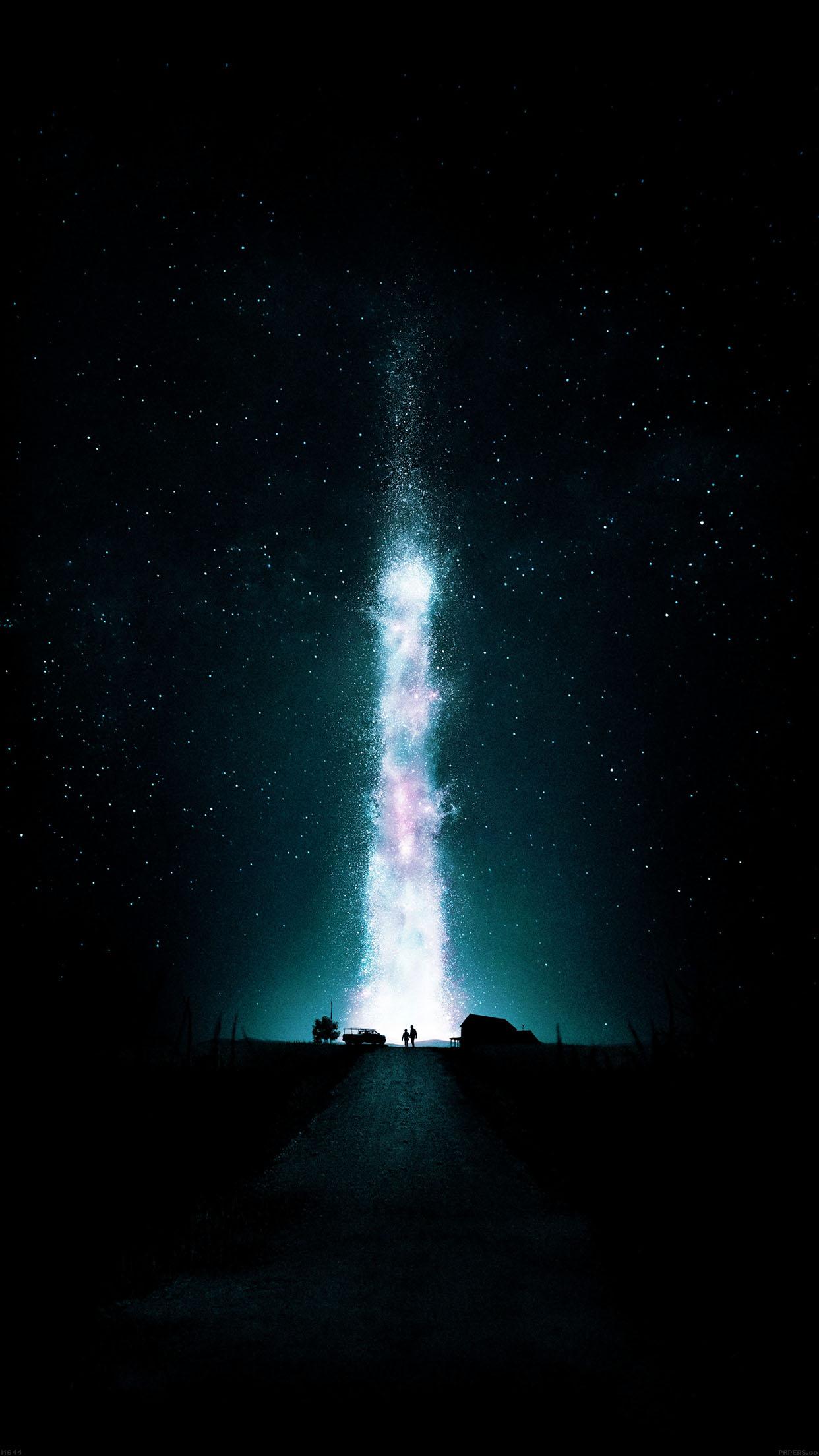 Interstellar Green Space Night Stars Fire Best Android Wallpaper