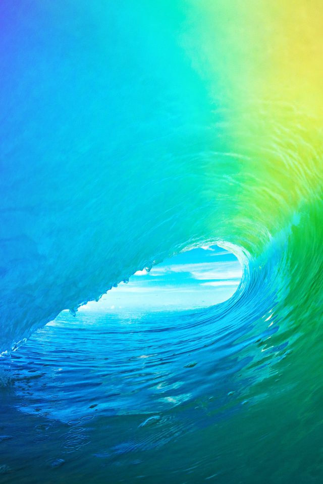 Ios9 Apple Wave Rainbow Sea Ocean Android wallpaper