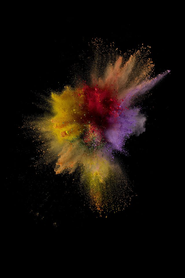 Ios9 Sparkle Color Red Yellow Apple Crayon Dark Android wallpaper