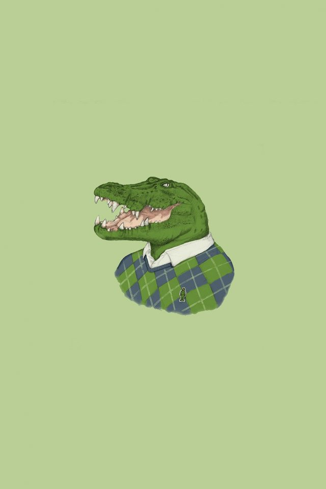 Lacoste Human Animal Minimal Art Illust Green Android wallpaper