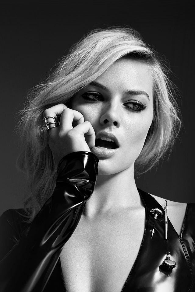 Margot Robbie Bw Photo Celebrity Girl Android wallpaper