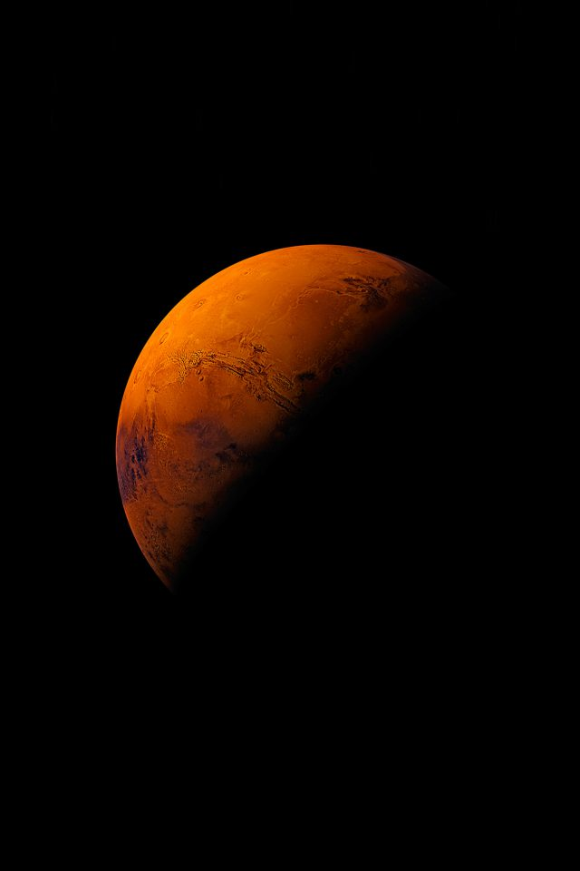 Mars Planet Apple Dark Space Orange Android wallpaper
